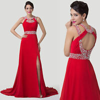 RED WEDDING XMAS High Split Backless Chiffon Ball Gown Evening Prom Party Dress