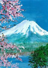 ACEO Original Painting Art Card Acrylic  Landscape Japan Fuji 100% Hand Painted