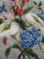 Vintage Needlepoint Tapestry Floral Canvas Unfinished Calla Lily Hummingbirds