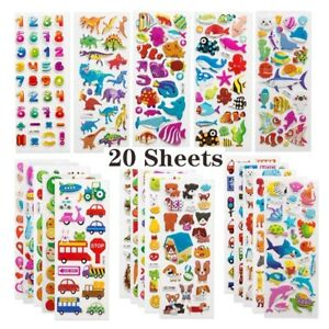 3D stickers kids toddlers 20 different sheets puffy bulk sticker gift for kids