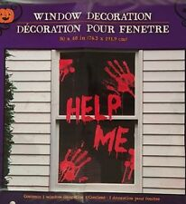"Halloween Haunted House ""HELP ME"" Window Cover Panel Decoration 30""x48"""