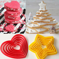 6Pcs Cookies Fondant Cake Cutter Pastry Star Love Heart Baking Mold Tools Decor