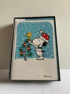 Hallmark Snoopy Christmas Cards Glitter - Designed Envelopes - New in Box