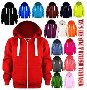 Ladies Plain Zip Up Hoodie Sweatshirt Women Fleece Jacket Hooded Top UK S To 8XL