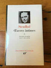 Stendhal - Œuvres Intimes II -  Pléiade N° 304   Comme neuf - 1982