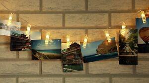 LED Lichterkette mit 40 Foto-Clips warmweiß, transp. Batteriebetrieb