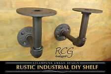 "Pair 4x4"" L Brackets DIY Pipes (8""-12"" deep shelf) urban steampunk rustic decor"