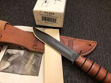 KA-Bar Knives Short USMC Knife Black Fixed Tactical NOS! Cowhide Sheath KABAR