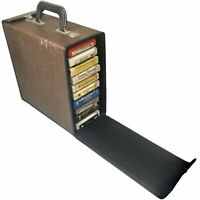 VINTAGE SET OF 11 8TRACK TAPES WITH BROWN BRUCE CARRYING CASE