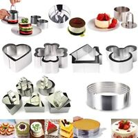 Stainless Steel Mousse Cake Ring Cookie Cutter Pudding Biscuit Baking Mould Tool