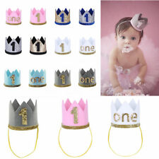Infant Baby Girls Boys 1st Birthday Party Crown Hat Cake Smash Tiara Accessories