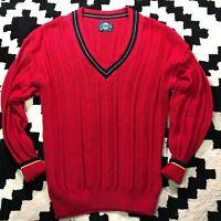 Vintage Mens Jantzen M Red Knit V-Neck Sweater Vest Made In USA NICE!