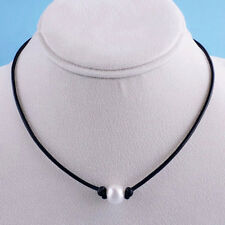 Women Elegant Pearl Pendant Necklace Leather Cord Choker Handmade Bib Chain Gift