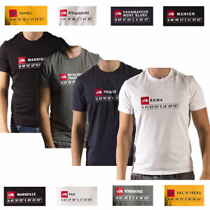 The North Face T-Shirts GPS Coordinates Europe Cities Madrid Mt Blanc Munich