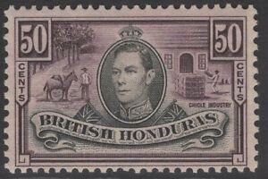 BRITISH HONDURAS SG158 1938 50c BLACK & PURPLE MTD MINT