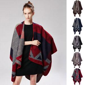 Luxury Celeb Cashmere Like Poncho Blanket Wrap Shawl Cape Scarf Geometric Unique