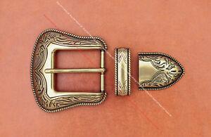 Solid Brass Western Rodeo Floral Leathercraft 3 pc Set Belt Buckle fit 35mm Belt