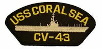 USS CORAL SEA CV-43 PATCH USN SHIP MIDWAY CLASS AIRCRAFT CARRIER AGELESS WARRIOR