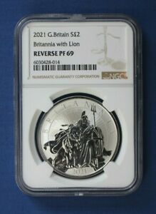 2021 Royal Mint 1oz Silver Reverse Proof Britannia £2 coin NGC Graded PF69