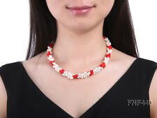 Beautiful 6x8mm Three-strand White Freshwater Pearl and Red Coral Beads Necklace