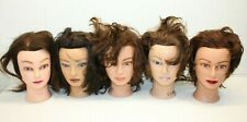 Lot of 5 Marianna Cosmetology Mannequin Heads w/ Human Hair Cut Doo Practice