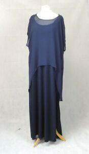 Live Unlimited Sparkle Maxi Dress With Chiffon Overlay Navy UK 24 LN013 BB 14