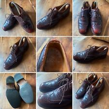 🌟Vintage Lotus Hand Made Size 8 Cordovan Leather Brogues Wing Tip Shoes Mens