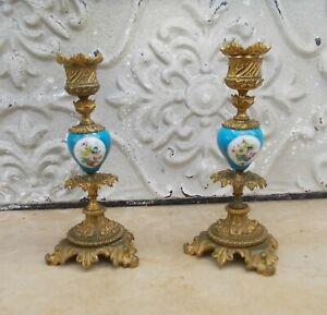 Paire de bougeoirs anciens porcelaine et bronze DLG Sèvres