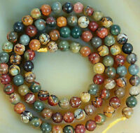 6mm Natural Colorful Picasso Jasper Gemstone Round Loose Beads 15""