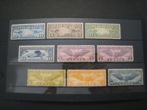 1930's US Air mail set , map, globe C7-10,12,16,17,19,&24 9v all MNH OG F-VF