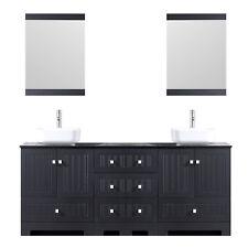 "72"" Black Bathroom Vanity- Glass Top Double Sinks, w/ Faucets Drains Combo Set"