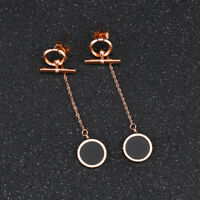 Round Circle Stick Tassels Rose Gold GP Surgical Stainless Steel Stud Earrings