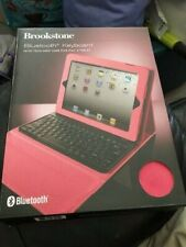 Brookstone Bluetooth Keyboard With Portfolio Case For IPad 2 Tablet Pink New!!!