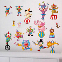 Clown Animal Circus Wall Stickers Kids Nursery Decor Removable Decal Art Mural