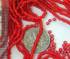 250 Vintage Tiny 1mm RED WHITE HEART Glass Beads NOS New Old Stock LN! (5234602)