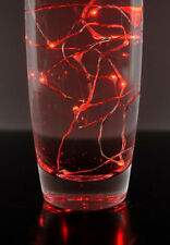 RED LED Micro 20 Bulb fairy light BATTERY INC wedding table jar centrepiece 2mtr