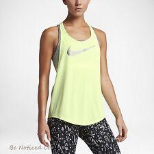 Nike Flow Metallic Women's Training Tank Top XL Volt Lime Silver Gym Running New