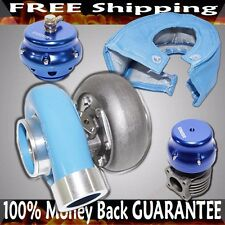 BLUE UNIVERSAL GT45 Turbo+46mm Wastegate+50mm blow off Valve+Heat Blanket Combo