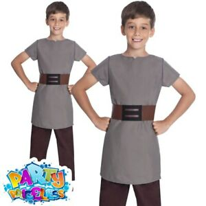 Child Saxon Costume Boys Grey Anglo World Book Week Day Fancy Dress Outfit Kids