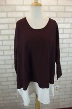 NEW $69 Style & Co Womens Knit Sweater Top Plus Sz 3X NWT Batwing Dolman Chiffon