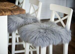 Sheepskin Chair Stool Pad |Scandinavian Decor | Seat Pad Gray | Icelandic