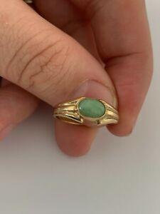 9ct gold jade ring, vintage 9k 375