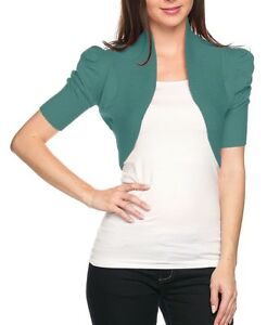 Ruched Short Sleeve Crop Knitted Bolero Sweater S ~ L