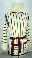 Vintage Women's Donnkenny Turtleneck Stripe Sweater Tunic Ivory Size M Acrylic