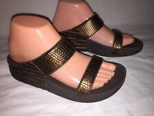 FITFLOP LULU WEAVE BRONZE LEATHER SLIDE SANDALS SIZE 6