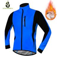 Herren Winter Fahrradjacke Warmhalten Thermo Fleece Mantel Wasserdicht MTB Bike
