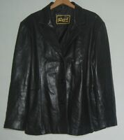 Reed Womens High Quality Black Butter Leather Jacket Coat XL 3 Button