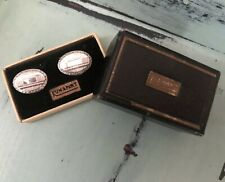 VTG KUM-A-PART Cufflinks Silver Tone Engraveable With Original Box NOS 1920's