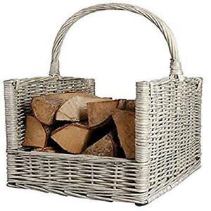 Fallen Fruits Wood Log Basket - Grey
