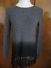 Aqua Women's Gray Black Cashmere Fringe Crewneck Pullover Small NWT